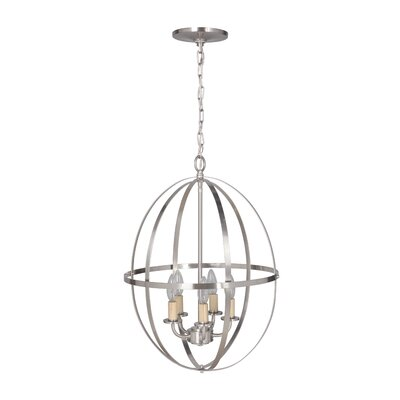 Hardwired Orb Sphere 5-Light Chandelier Finish: Brushed Nickel
