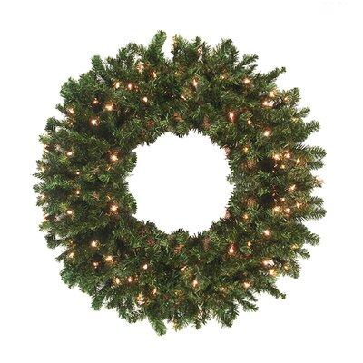 Pre-Lit Canadian Pine Artificial Christmas Wreath Color: Clear