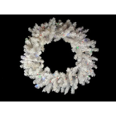 """Pre-Lit Battery Operated Artificial Christmas Wreath Lights Color: Multi, Size: 24"""" H x 24"""" W"""