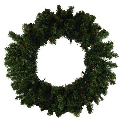 Pre-Lit Canadian Pine Artificial Christmas Wreath Color: Multi