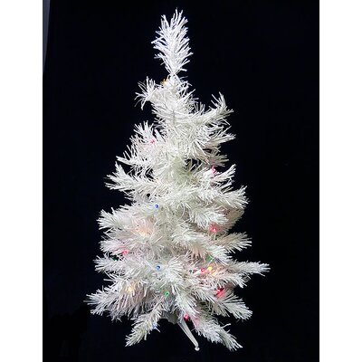 3' White Pine Artificial Christmas Tree with 100 LED Multi-Color Lights