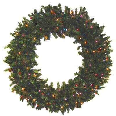 "30"" Battery Operated Pine Artificial Christmas Wreath with Multicolor LED Lights"