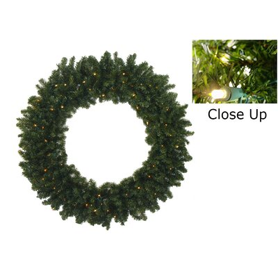 """Pre-Lit Battery Operated Canadian Pine Artificial Christmas Wreath Size: 30"""" H x 30"""" W, Light Color: Clear"""