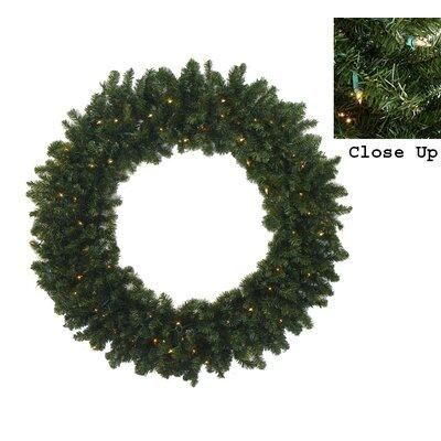 Pre-Lit Canadian Pine Artificial Christmas Wreath Light Color: Clear