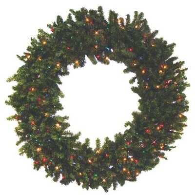 Pre-Lit Canadian Pine Commercial Artificial Christmas Wreath Light Color: Clear