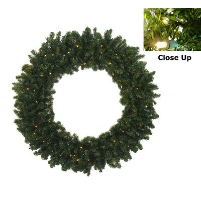 """Pre-Lit Battery Operated Canadian Pine Artificial Christmas Wreath Size: 36"""" H x 36"""" W, Light Color: Multi"""