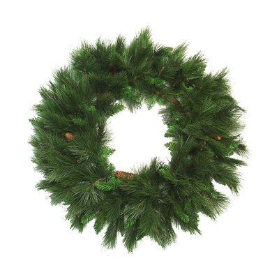 Long Needle Pine Artificial Christmas Wreath With Pine Cones image