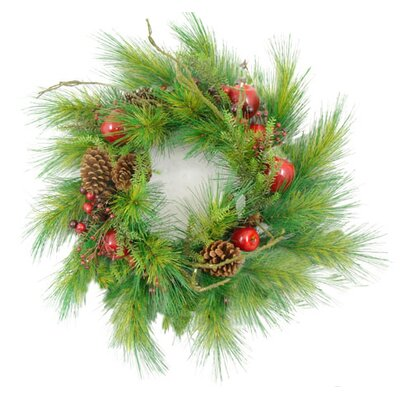 "24"" Apple Berry and Pine Cone Artificial Christmas Wreath"