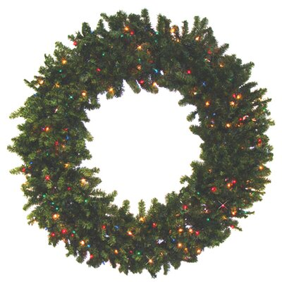 Pre-Lit 7' Canadian Pine Artificial Christmas Wreath with Multi Lights