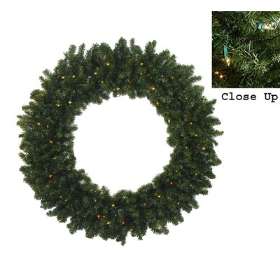Pre-Lit Commercial Size Canadian Pine Artificial Christmas Wreath Color: Clear