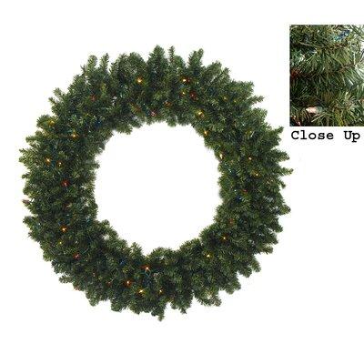 Pre-Lit Canadian Pine Artificial Christmas Wreath Light Color: Multi