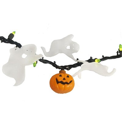 Opaque Green Mini Halloween with Pumpkins and Ghosts with 50 Lights