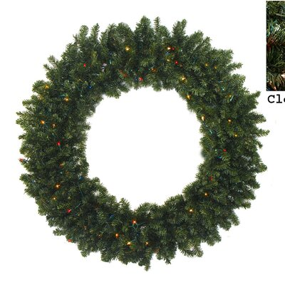 "Artificial Christmas Wreath Size: 30"" H x 30"" W, Light Color: Clear"
