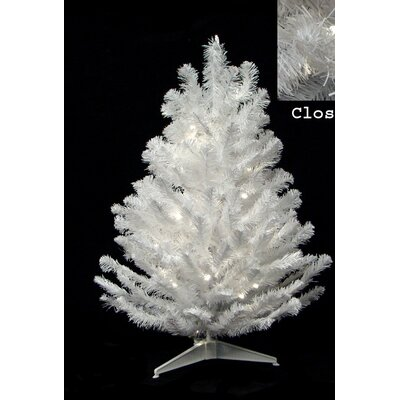 3' Snow White Artificial Christmas Tree with 50 Candlelight Clear LED Lights