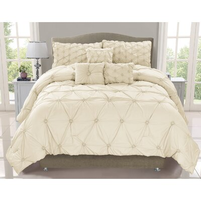 Cosmo 6 Piece Comforter Set Size: King, Color: Ivory