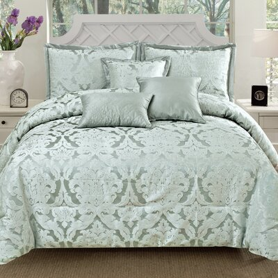 Oxford 6 Piece Comforter Set Color: Blue, Size: Queen