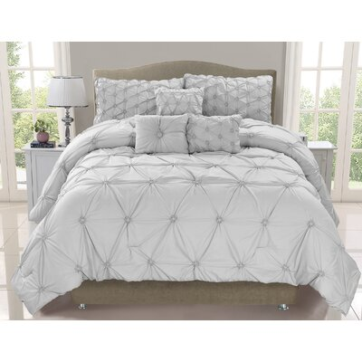 Cosmo 6 Piece Comforter Set Size: King, Color: Mist