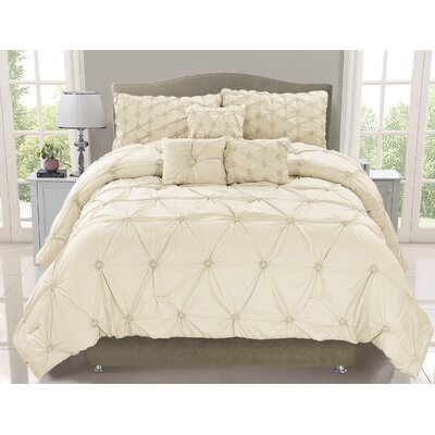 Cosmo 6 Piece Comforter Set Color: Ivory, Size: Queen