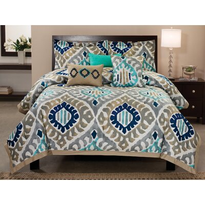 Utopia 6 Piece Reverible Comforter Set Size: King