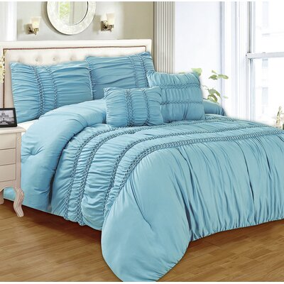 Waldorf 5 Piece Comforter Set Color: Blue, Size: Queen