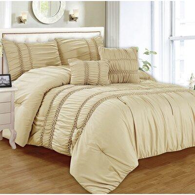 Waldorf 5 Piece Comforter Set Color: Beige, Size: Queen