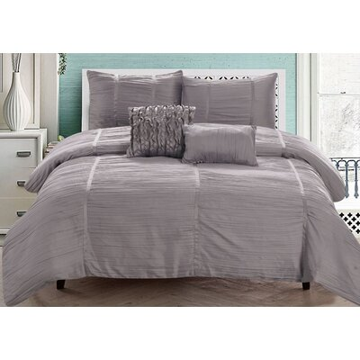 Kingsley 5 Piece Comforter Set Size: King, Color: Silver