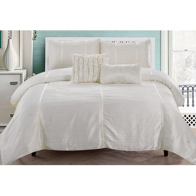 Kingsley 5 Piece Comforter Set Color: Ivory, Size: Queen