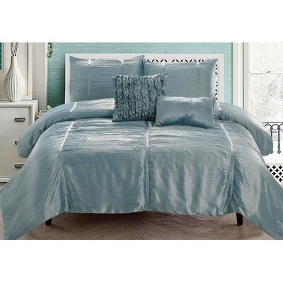 Kingsley 5 Piece Comforter Set Color: Aqua, Size: Queen