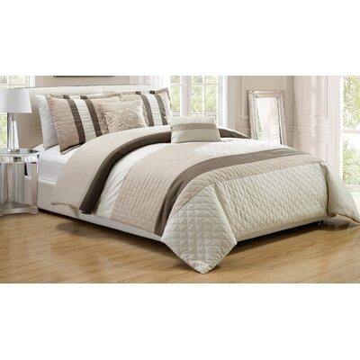 Park Ridge 5 Piece Comforter Set Color: Taupe, Size: Queen