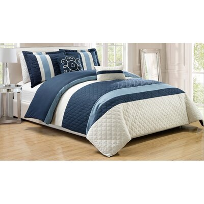 Park Ridge 5 Piece Comforter Set Color: Navy, Size: King