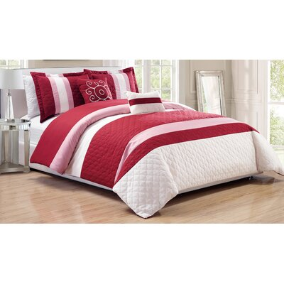 Park Ridge 5 Piece Comforter Set Color: Burgundy, Size: Queen