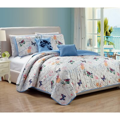 Colbey Vintage 5 Piece Quilt Set Size: King