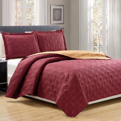 3 Piece Reversible Quilt Set Size: Queen, Color: Burgundy/Gold