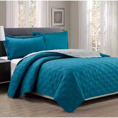 3 Piece Reversible Quilt Set Size: Queen, Color: Turquoise/Gray