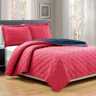 3 Piece Reversible Quilt Set Size: King, Color: Red/Navy