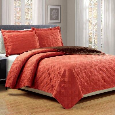 3 Piece Reversible Quilt Set Size: Queen, Color: Spice/Chocolate