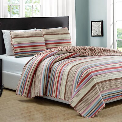 Marley 3 Piece Reversible Quilt Set Size: Queen