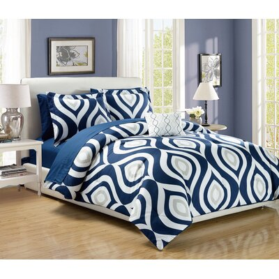 Brooklyn 8 Piece Comforter Set Color: Blue, Size: King