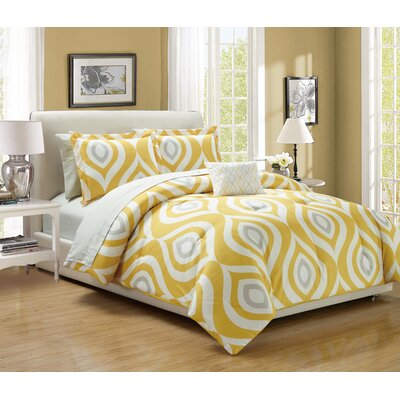 Brooklyn 8 Piece Comforter Set Size: Queen, Color: Yellow
