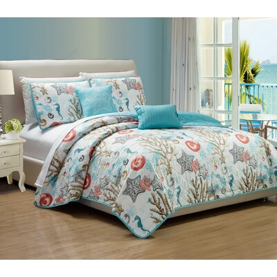 Candelaria 5 Piece Reversible Quilt Set Size: King
