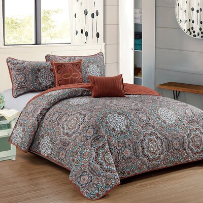Crosby 5 Piece Reversible Quilt Set Size: King