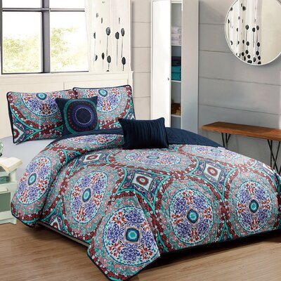 Binette 5 Piece Reversible Quilt Set Size: Queen
