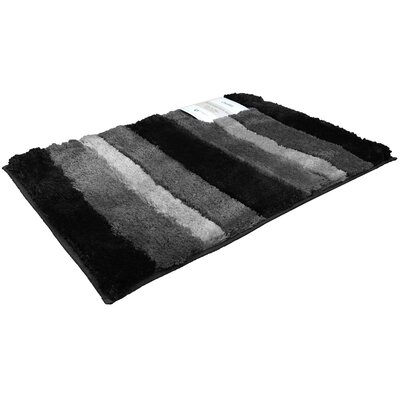 Breton Ombre 2 Piece Microfiber Bath Rug Set Color: Black