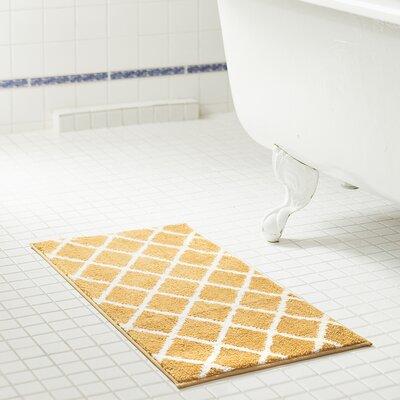 Jeanie Jacquard Microfiber Bath Rug Color: Gold, Size: 17 W x 24 L
