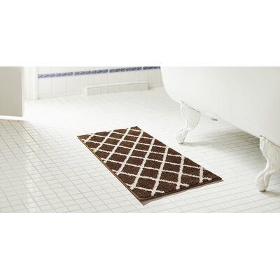 Jeanie 2 Piece Jacquard Microfiber Bath Rug Set Color: Chocolate
