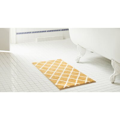 Jeanie 2 Piece Jacquard Microfiber Bath Rug Set Color: Gold