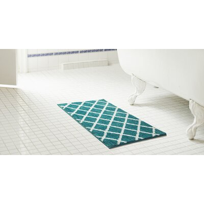 Jeanie 2 Piece Jacquard Microfiber Bath Rug Set Color: Blue