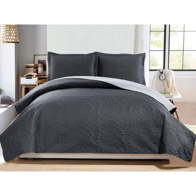 Altnahinch 3 Piece Reversible Quilt Set Size: Queen, Color: Charcoal/Gray