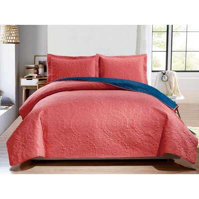 Altnahinch 3 Piece Reversible Quilt Set Size: Queen, Color: Coral/Navy