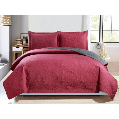 Altnahinch 3 Piece Reversible Quilt Set Size: King, Color: Raspberry/Aqua
